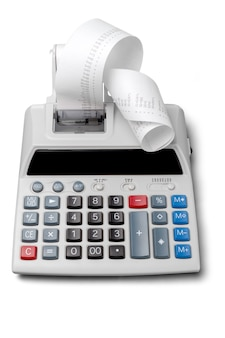 Calculatrice d'impression avec bande de papier enroulée