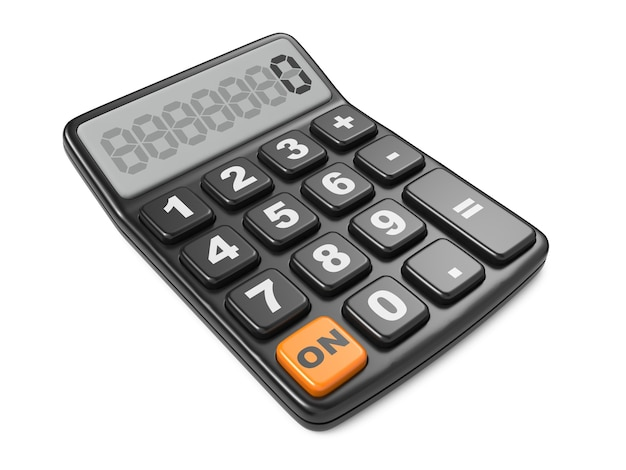 Calculatrice noire 3d. isolé sur fond blanc.