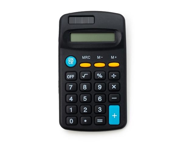 Calculatrice noire sur fond blanc isolé