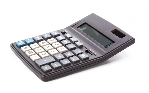 Calculatrice noire isolée sur blanc