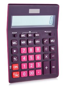 Calculatrice numérique en plastique violet, isolé sur fond blanc, gros plan.