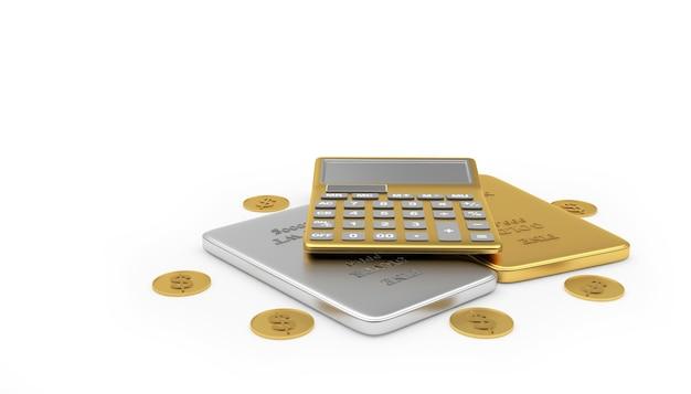 Calculatrice d'or sur les barres et les pièces