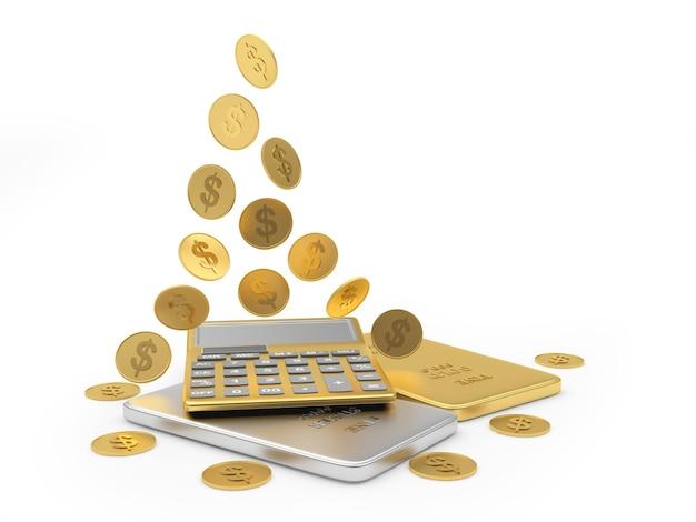 Calculatrice d'or avec des pièces et des barres. 3d