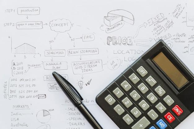 Calculatrice avec stylo sur papier de plan d'affaires