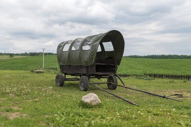 Calèche ancienne avec auvent dans un champ vert