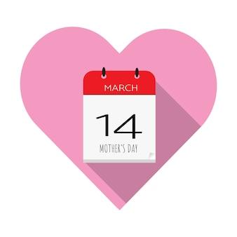 Calendrier 14 mars vecteur plat d'icône de fête des mères.