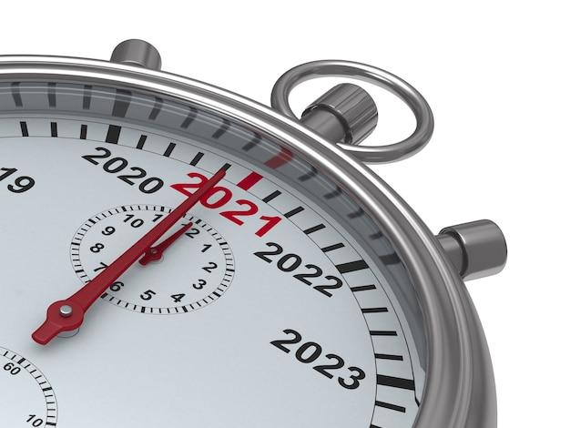 Calendrier de l'année 2021 sur chronomètre. illustration 3d isolée