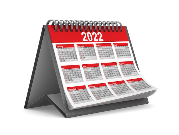 Calendrier de l'année 2022 sur fond blanc. illustration 3d isolée