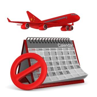 Calendrier et avion de chine sur blanc