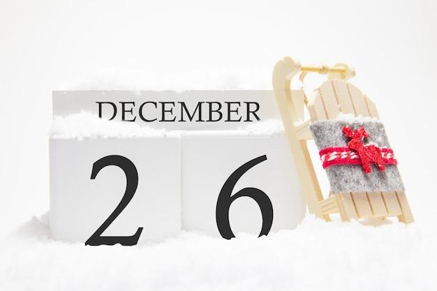 Calendrier en bois pour le 26 décembre du mois d'hiver.