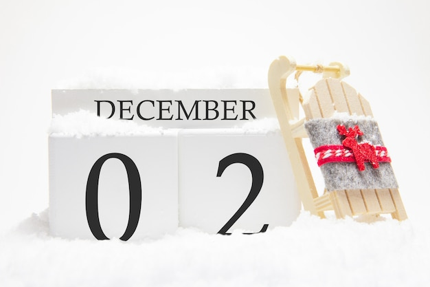 Calendrier en bois pour décembre, 2 ème jour du mois d'hiver.