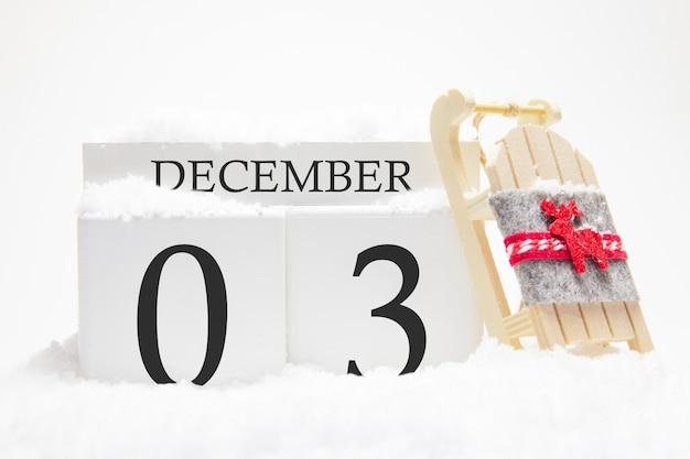 Calendrier en bois pour décembre, 3ème jour du mois d'hiver.