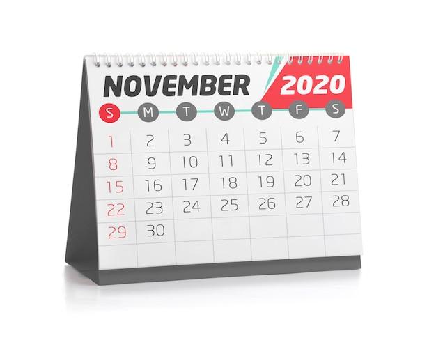 Calendrier de bureau novembre 2020