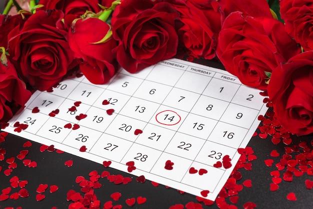Calendrier avec la date de la saint-valentin