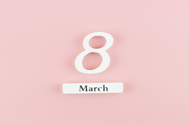 Calendrier du 8 mars avec espace de copie pour le texte. concept de la journée de l'amour, de l'égalité et de la journée internationale des femmes