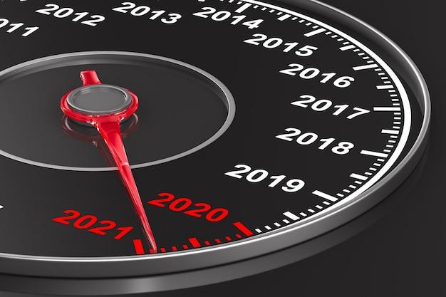Calendrier du compteur de vitesse sur fond noir. illustration 3d