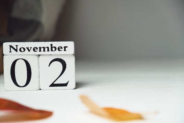 Calendrier du deuxième jour du mois d'automne novembre