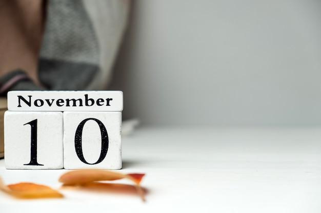 Calendrier du dixième jour du mois d'automne novembre