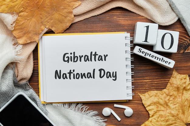 Calendrier du mois d'automne de la fête nationale de gibraltar