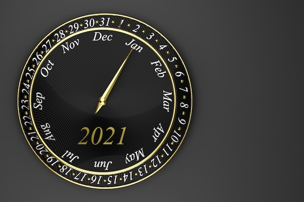 Calendrier de l'horloge ronde noire illustration 3d avec 12 mois, 31 jours et 2021 année sur fond noir.