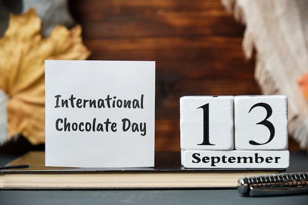 Calendrier de la journée internationale du chocolat de l'automne