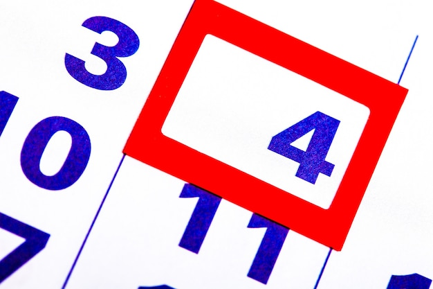 Le calendrier. nombre avec un carré rouge. organisateur