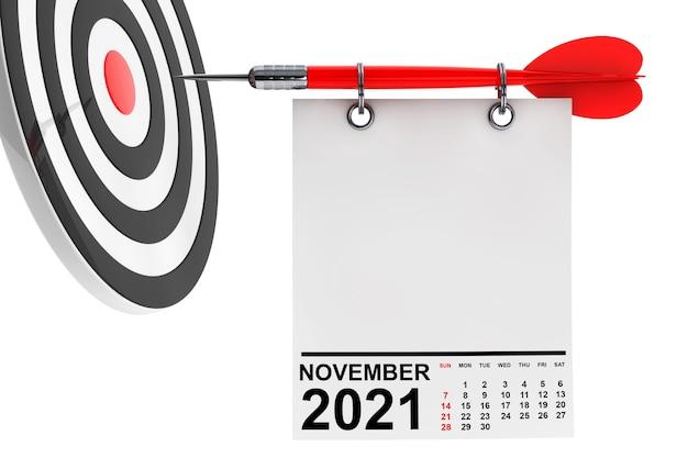 Calendrier novembre 2021 sur papier vierge avec espace libre pour votre conception avec cible. rendu 3d