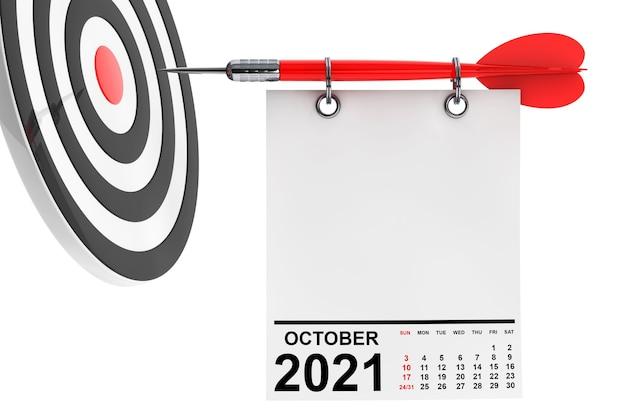 Calendrier octobre 2021 sur papier vierge avec espace libre pour votre conception avec cible. rendu 3d
