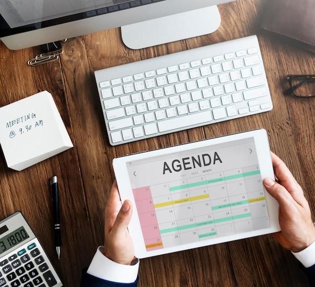 Calendrier ordre du jour réunion de l'événement rappel calendrier concept graphique