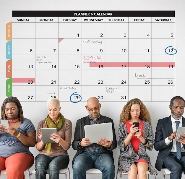Calendrier planificateur gestion organisation rappeler concept