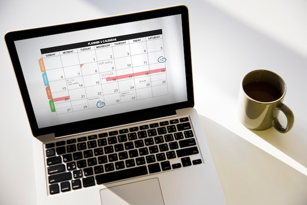 Calendrier planificateur ordre du jour calendrier concept
