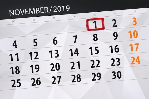 Calendrier de planification pour le mois de novembre 2019, date limite, le vendredi 1