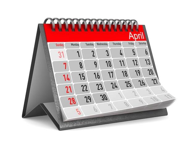 Calendrier pour avril. illustration 3d isolée
