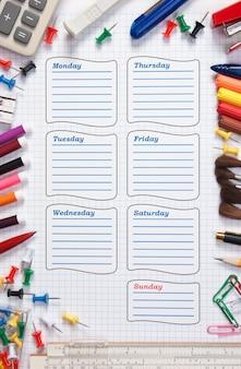 Calendrier scolaire vierge pour la semaine