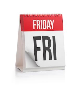 Calendrier de la semaine, page du vendredi