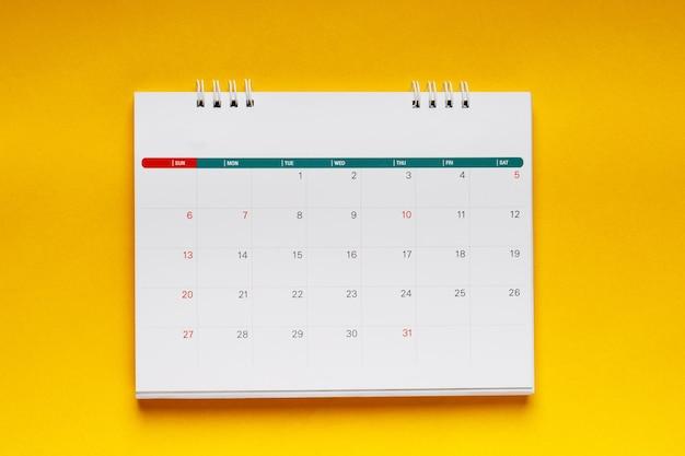 Calendrier de vacances pour les employés de bureau