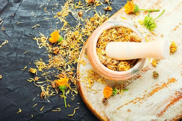 Calendula ou souci sec.mortier aux herbes médicinales.phytothérapie