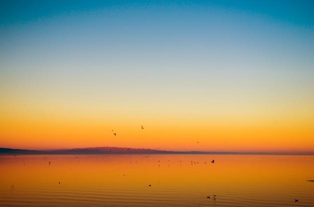 California lake sunset