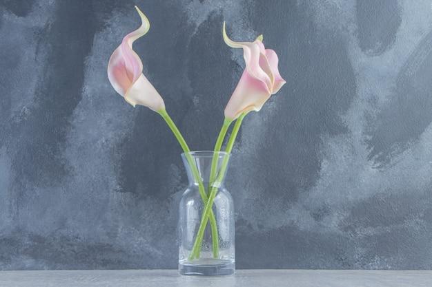 Calla lily dans une cruche, sur le fond de marbre.