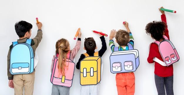 Camarades de classe, amis, sac, école, éducation