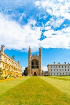 Cambridge, royaume-uni - 28 août 2019: king's college (commencé en 1446 par henry vi). bâtiments historiques