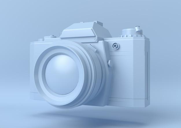 Caméra couleur bleu abstrait, moderne et minimaliste, rendu 3d