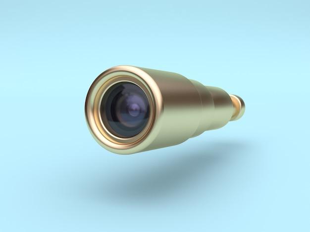 Caméra dorée à objectif 3d rendu bleu