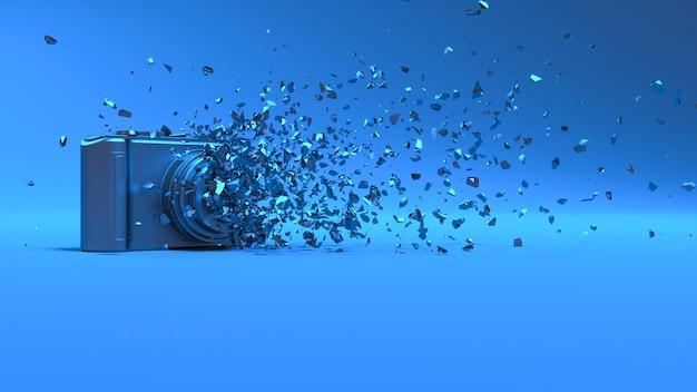 Caméra en éclairage néon bleu tombant en petites pièces, illustration 3d