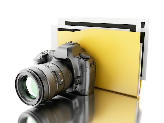 Caméra photo 3d avec dossier. album photo.