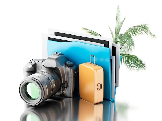 Caméra photo 3d avec dossier, palmier et valise.