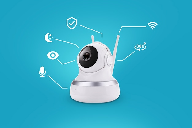 Caméra de sécurité intelligente sur fond bleu avec infographie. surveillance à domicile via internet