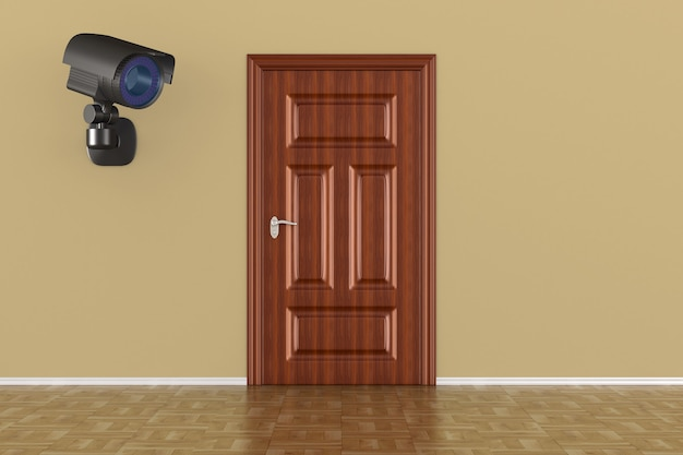 Caméra de sécurité sur le mur. rendu 3d