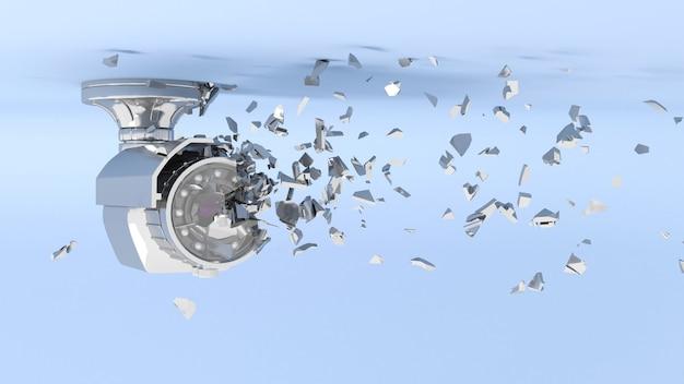 Caméra de vidéosurveillance en néon bleu tombant en petites pièces, illustration 3d