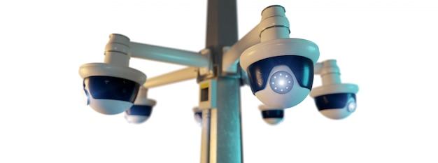 Caméra de vidéosurveillance rue isolée - rendu 3d